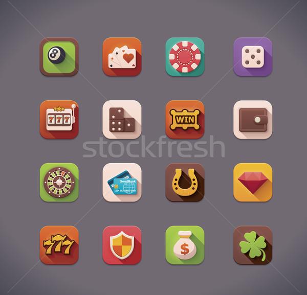 Vector flat gambling  icons Stock photo © tele52