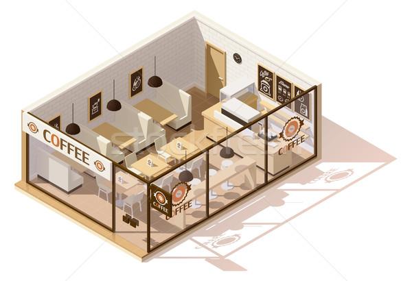 ベクトル アイソメトリック 低い コーヒーショップ インテリア ビジネス ストックフォト © tele52