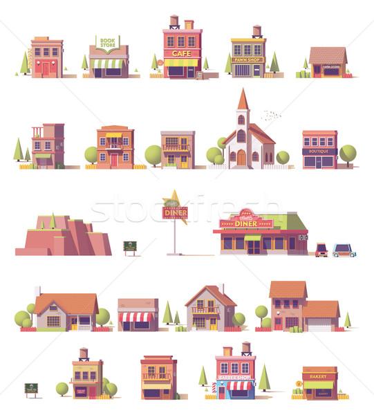 ベクトル 低い 建物 セット 建物 図書 ストックフォト © tele52
