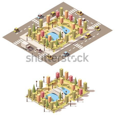 Vector low poly isometric old buildings set Stock photo © tele52