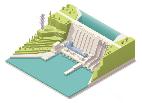 Isometric hydroelectric power station Stock photo © tele52