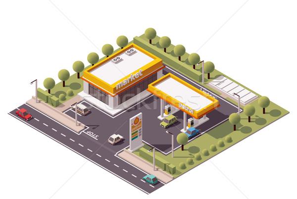 Vektör izometrik benzin istasyonu küçük benzin istasyonu Stok fotoğraf © tele52