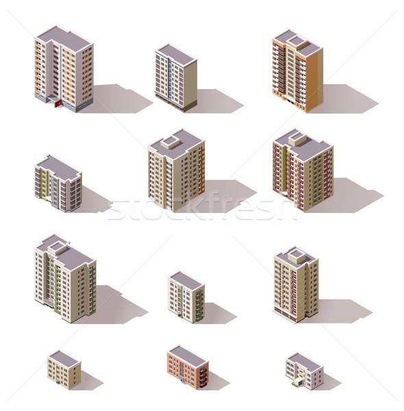 Stockfoto: Vector · isometrische · gebouwen · ingesteld · stad · gebouw