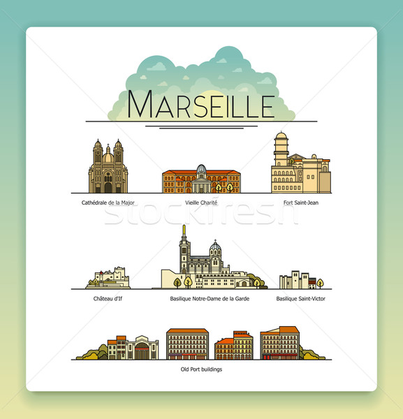 Vector line art Marseille, France, travel landmarks and architecture icon set. The most popular tour Stock photo © tele52