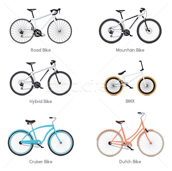 Vektör bisikletler ayarlamak farklı yol bisiklet Stok fotoğraf © tele52