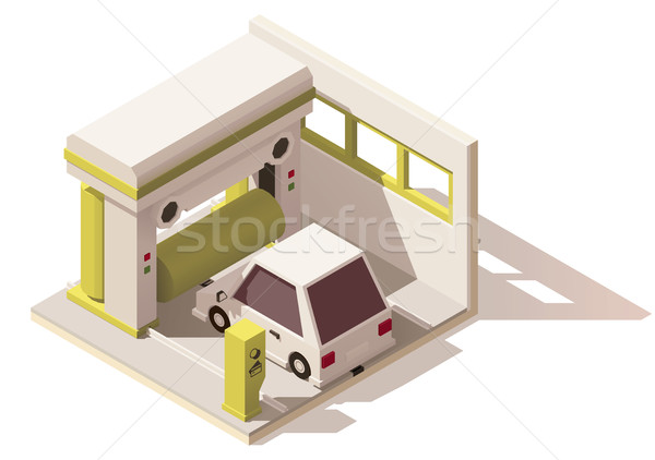 Vector isometrische laag car wash icon auto Stockfoto © tele52