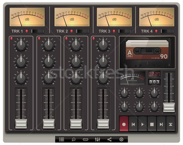 Vektor portable Tonstudio Vorlage Symbole Retro Stock foto © tele52