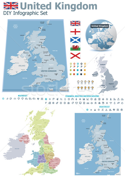 United Kingdom maps with markers Stock photo © tele52