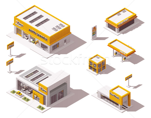 Vector road transport related buildings Stock photo © tele52