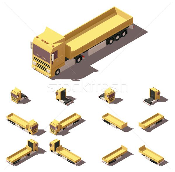 Vector isometric truck with cargo semi-trailer icon set Stock photo © tele52
