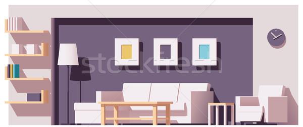 Stok fotoğraf: Vektör · oturma · odası · düşük · ev · oda · sandalye