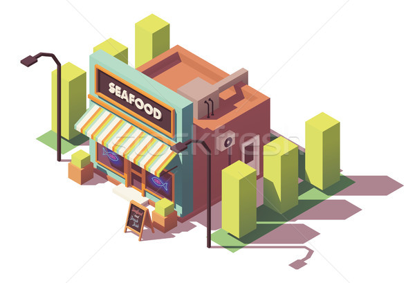 вектора изометрический рыбы морепродуктов магазин рынке Сток-фото © tele52