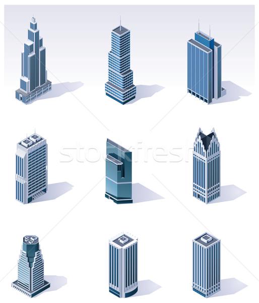 Vector isometrische gebouwen wolkenkrabbers ingesteld gedetailleerd Stockfoto © tele52