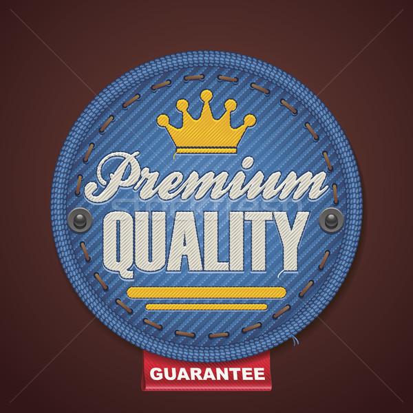 Vetor prêmio qualidade tecido distintivo detalhado Foto stock © tele52