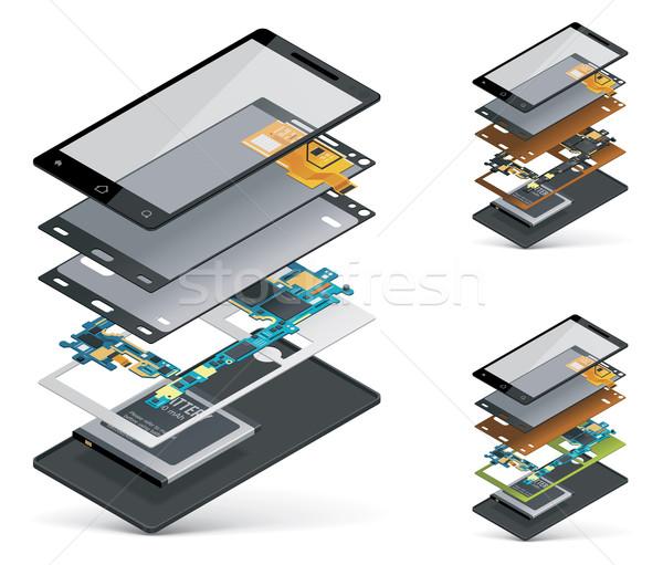 Vektor izometrikus okostelefon zsakett részletes kép Stock fotó © tele52