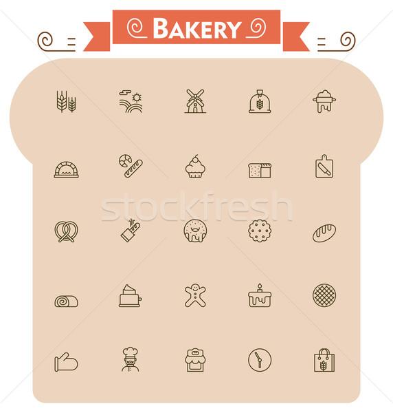 Bakery icon set Stock photo © tele52