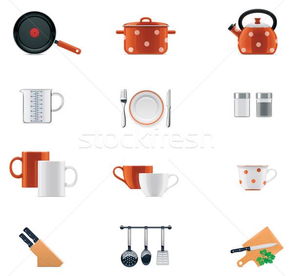 Konyhai felszerelés ikon gyűjtemény szett részletes ikonok narancs Stock fotó © tele52