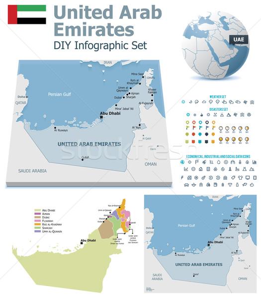 Объединенные Арабские Эмираты карт набор политический Сток-фото © tele52