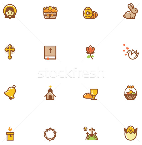 Vector Easter icon set Stock photo © tele52