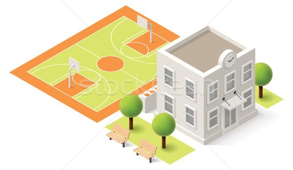 Wektora izometryczny szkoły uczelni budynku ikona Zdjęcia stock © tele52