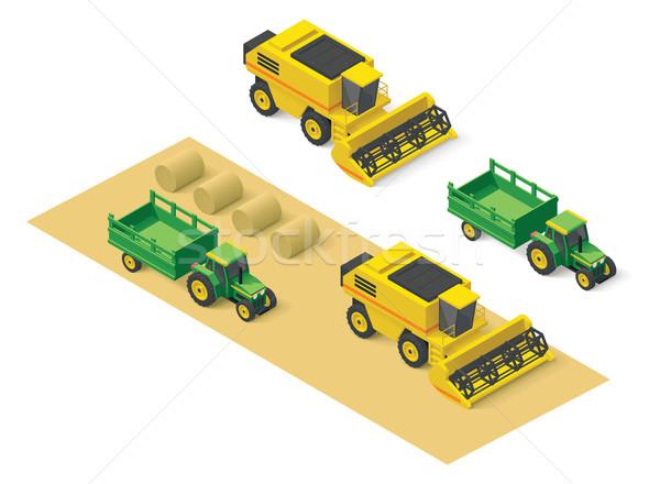 Vector isometric farm vehicles set Stock photo © tele52