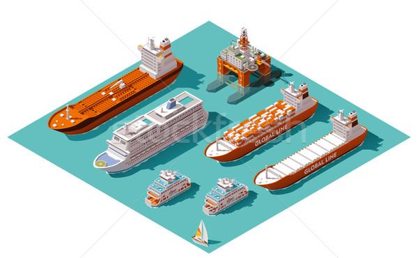 Wektora izometryczny statków platforma wiertnicza ikona morski Zdjęcia stock © tele52