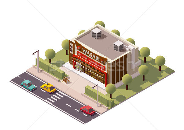 Vector isometric sushi restaurant Stock photo © tele52