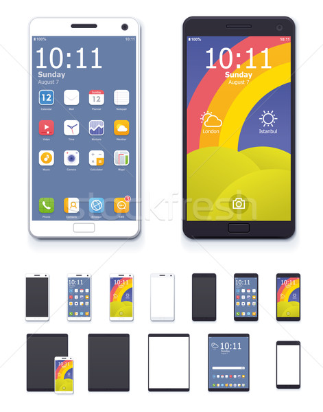 Vector generic smartphones and tablet computers with interface icon set Stock photo © tele52