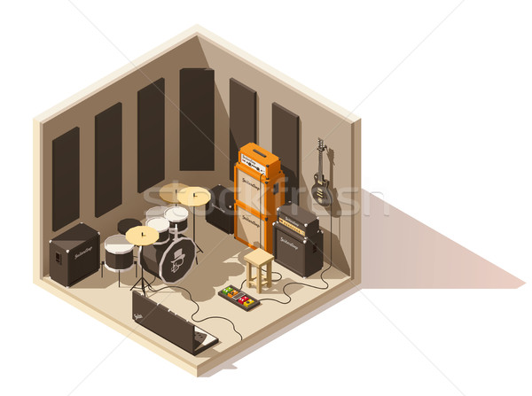 Vector isometric low poly recording studio icon Stock photo © tele52