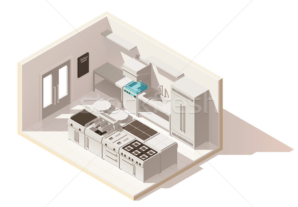 Vector isometric low poly professional kitchen Stock photo © tele52