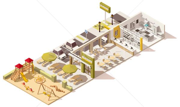 Vector isometrische laag fastfood restaurant infrastructuur business Stockfoto © tele52