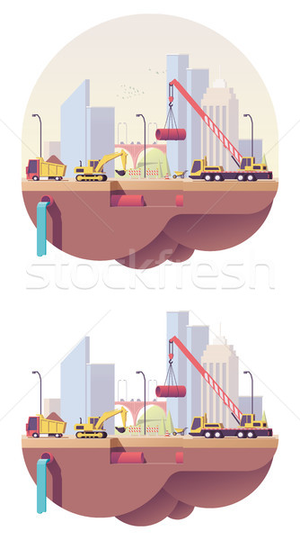 Vector low poly water main construction site Stock photo © tele52