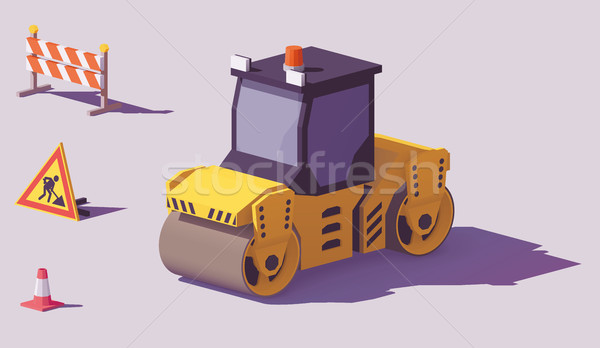 Vector isometric road roller Stock photo © tele52