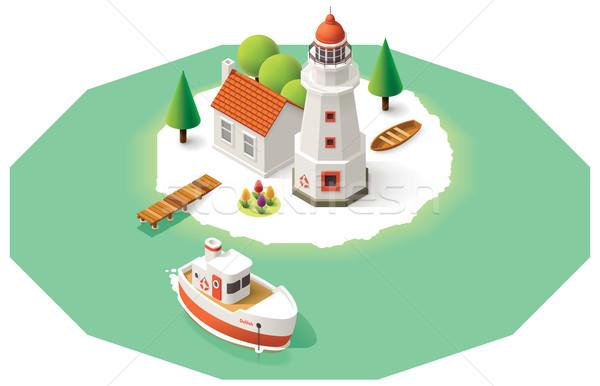 Vektör izometrik deniz feneri Bina iskele gemi Stok fotoğraf © tele52