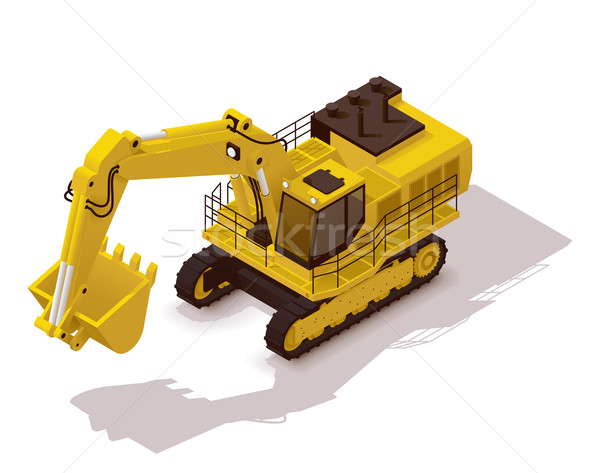 Vektor izometrikus bányászat kotrógép ikon nehéz Stock fotó © tele52