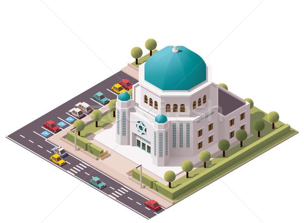 Vector isometrische synagoge gebouw icon huis Stockfoto © tele52