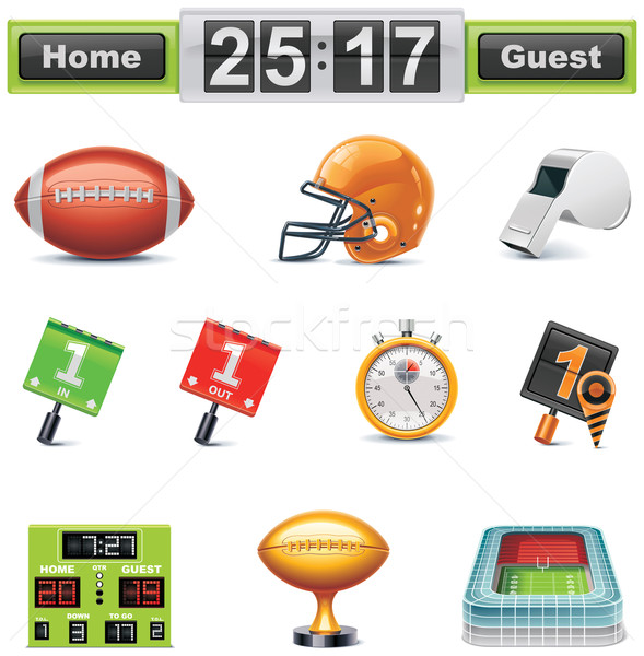 Vektor amerikai futball ikon gyűjtemény szett részletes Stock fotó © tele52