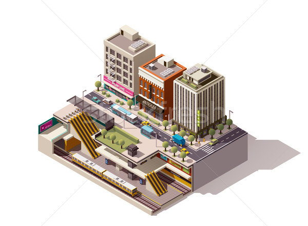 Vector isometric subway station cross section Stock photo © tele52