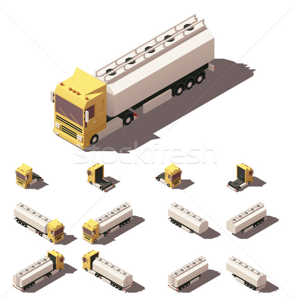 Vector isometric truck with liquid tank semi-trailer icon set Stock photo © tele52