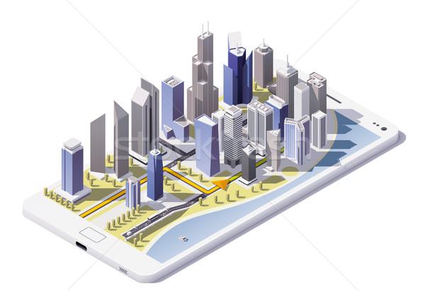 Сток-фото: вектора · изометрический · город · навигация · икона · низкий