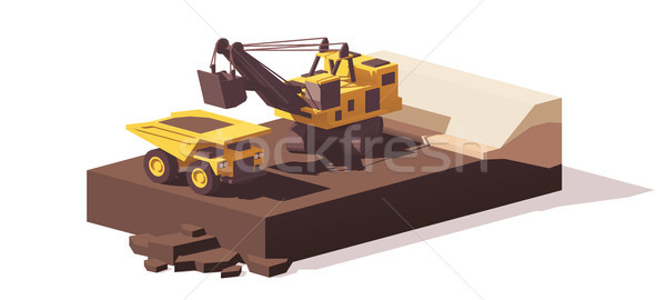 Vector low poly power shovel and haul truck Stock photo © tele52