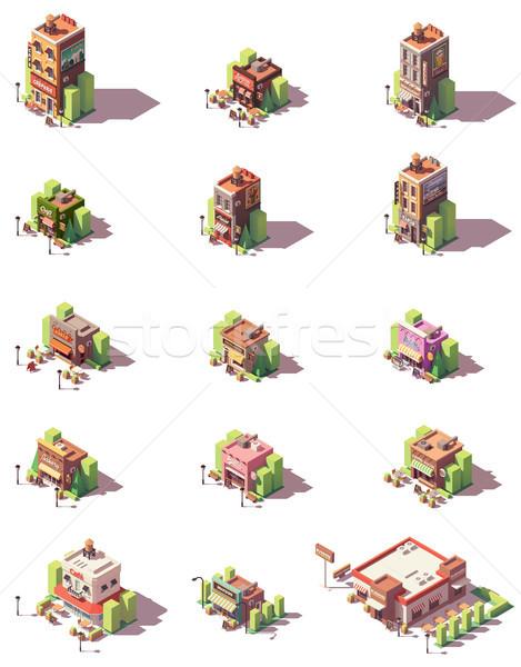 Vector isometric restaurants types icons Stock photo © tele52