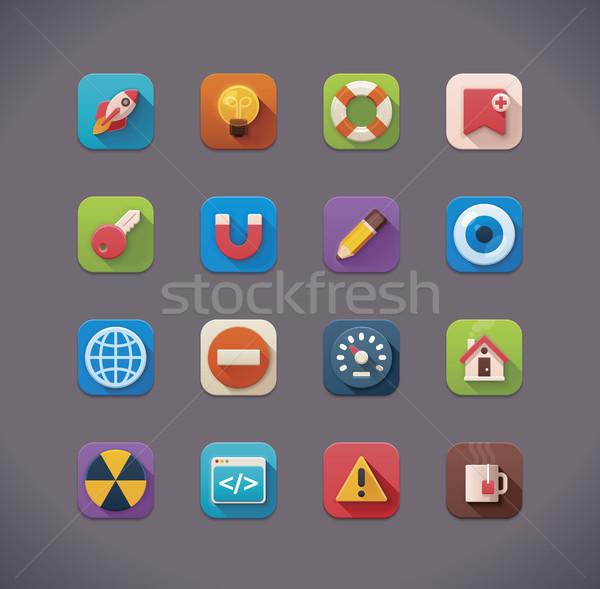 Vector flat UI icons Stock photo © tele52