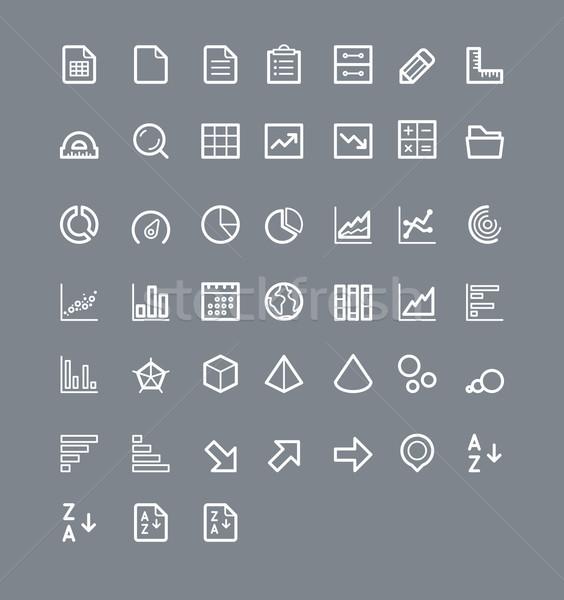 Statystyczny elementy zestaw proste ikona Zdjęcia stock © tele52