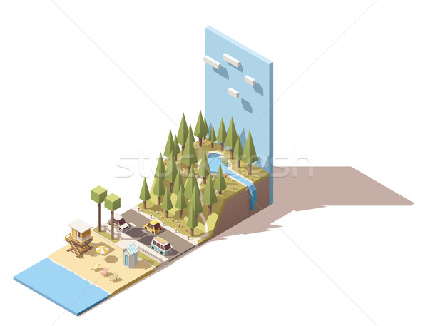 Vector isometric seaside landscape Stock photo © tele52