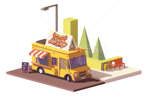 Vector low poly hot dog food truck Stock photo © tele52
