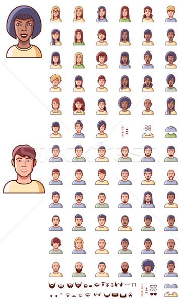 Stock photo: Vector faces icon set