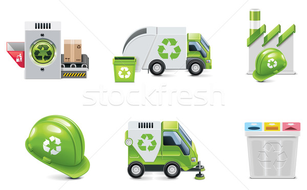 Vector trash recycling icon set Stock photo © tele52