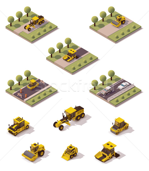 Vector isometric road surface making technology Stock photo © tele52