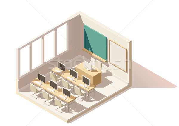 Vector isometric low poly computer classroom Stock photo © tele52